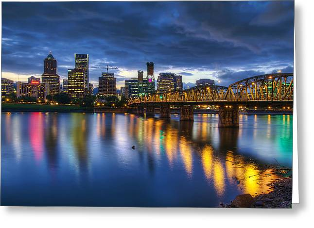 Portland Oregon Waterfront At Blue Hour Greeting Card by David Gn