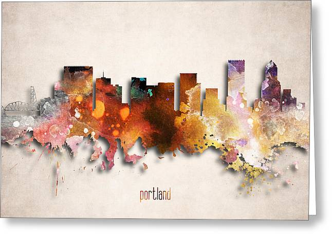 Portland Painted City Skyline Greeting Card by World Art Prints And Designs