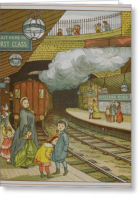 Portland Road Underground Station Greeting Card by British Library