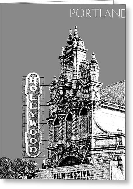 Portland Skyline Hollywood Theater - Pewter Greeting Card by DB Artist
