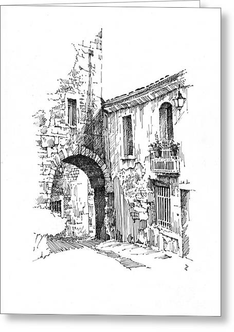 Greeting Card featuring the drawing Portmerion by Paul Davenport