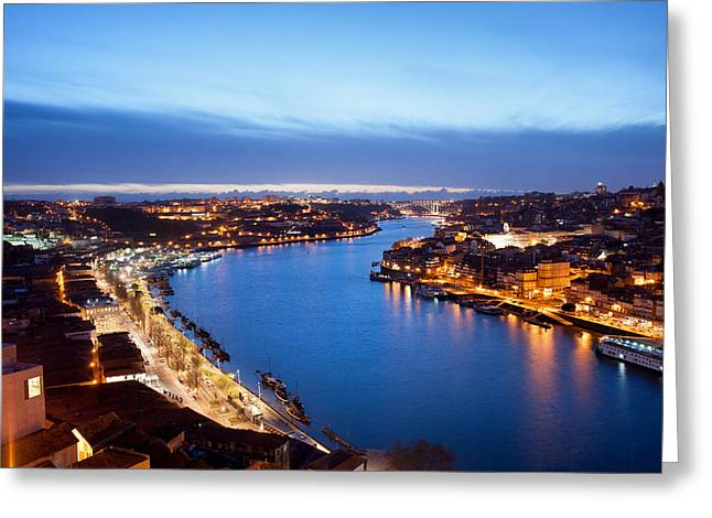 Porto And Gaia At Dusk In Portugal Greeting Card by Artur Bogacki