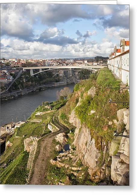 Porto And Vila Nova De Gaia In Portugal Greeting Card