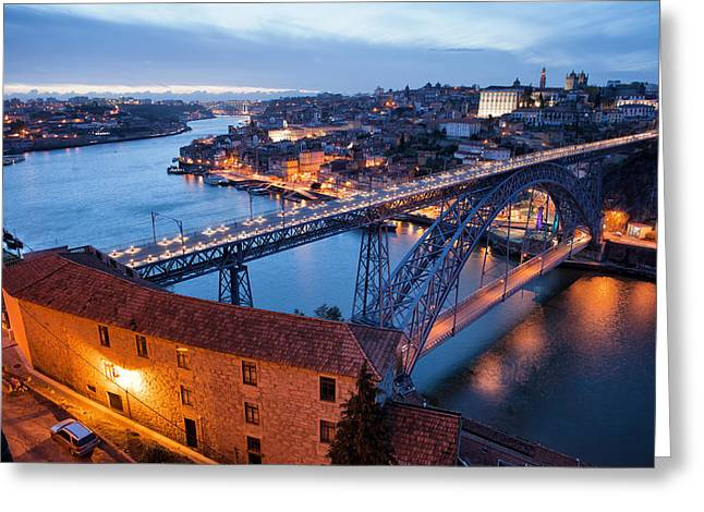 Porto Cityscape In Portugal At Twilight Greeting Card by Artur Bogacki