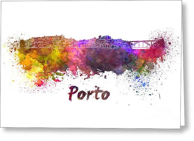 Porto Skyline In Watercolor Greeting Card by Pablo Romero