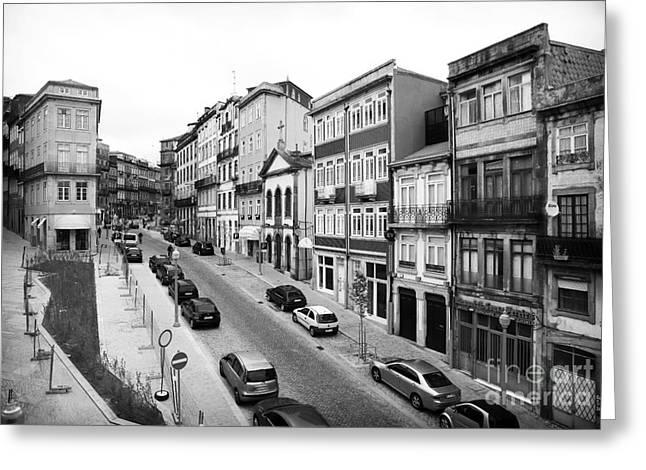 Porto Street Parking Greeting Card by John Rizzuto