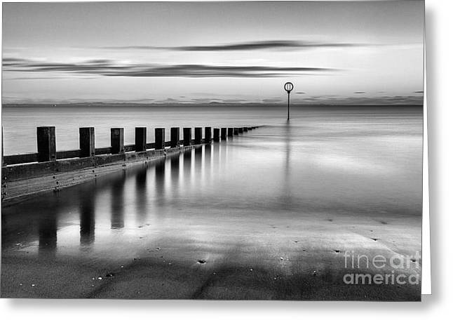 Portobello Beach Groynes Monochromatic Greeting Card
