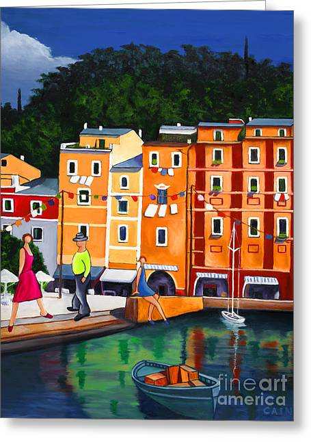 Portofino Art Print Greeting Card by William Cain