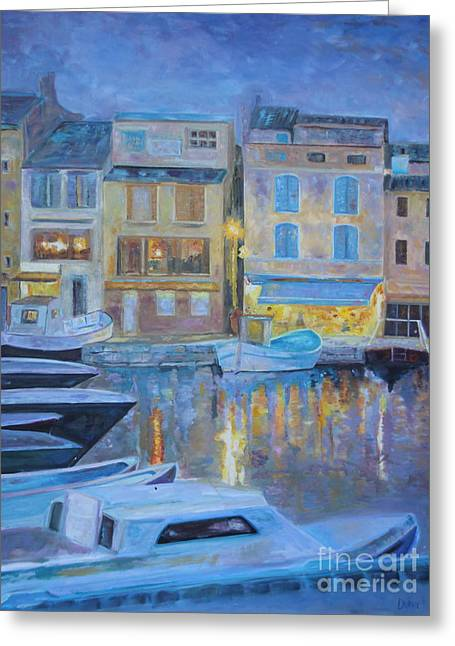Portofino At Dusk Greeting Card by Barbara Lynn Dunn