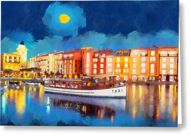 Portofino By Night Greeting Card by George Rossidis