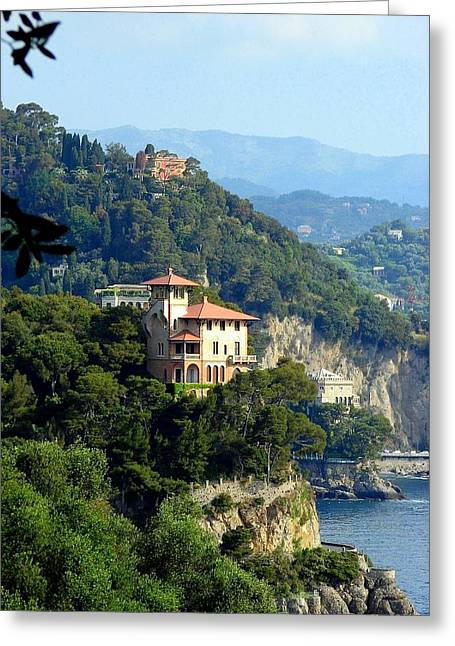 Portofino Coastline Greeting Card by Carla Parris
