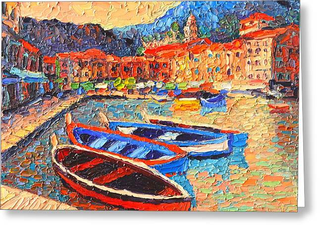 Portofino - Colorful Boats And Reflections In Dawn Light - Italy Liguria Riviera Greeting Card