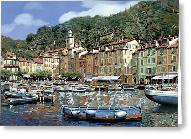 Portofino Greeting Card by Guido Borelli
