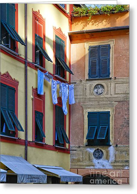 Portofino Street Still Greeting Card by George Oze