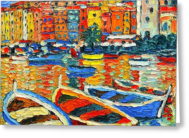 Portovenere Harbor - Italy - Ligurian Riviera - Colorful Boats And Reflections Greeting Card