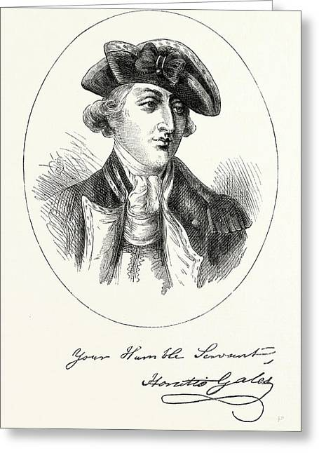 Portrait And Autograph Of General Horatio Gates Greeting Card by English School