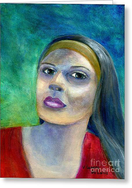 Portrait Art Woman In Red Greeting Card