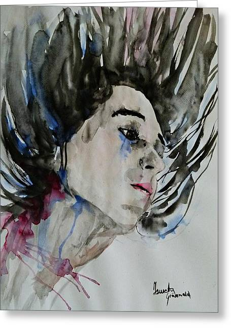 Greeting Card featuring the painting Portrait- Girl by Ismeta Gruenwald