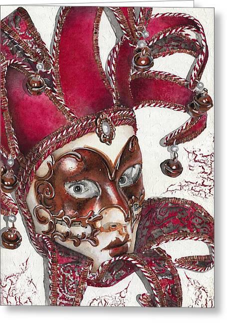 Portrait In Mask - Venetian Red - Venice - Elena Yakubovich Greeting Card by Elena Yakubovich