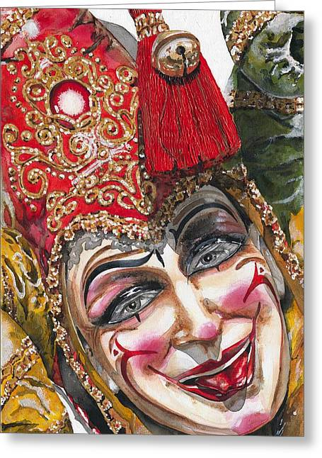 Portrait In Red Venetian Mask - Venice - Acryl - Elena Yakubovich Greeting Card by Elena Yakubovich