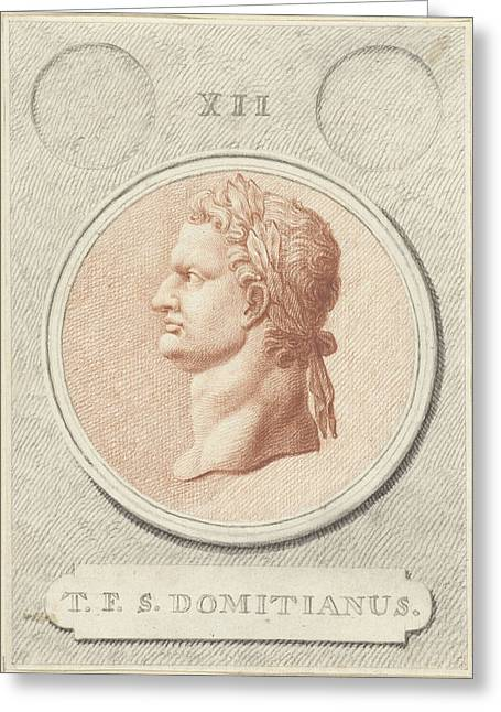 Portrait Medallion Of Domitian, Roman Emperor Greeting Card by Quint Lox