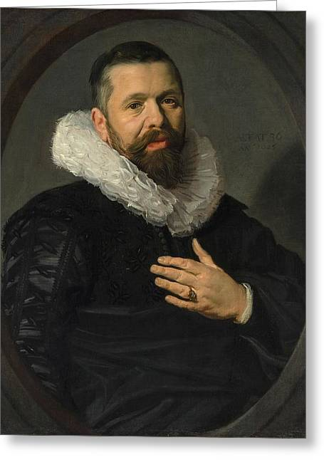 Portrait Of A Bearded Man With A Ruff Greeting Card by Frans Hals