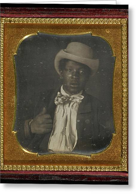Portrait Of A Black Man Wearing A Bow Tie Unknown Maker Greeting Card by Litz Collection
