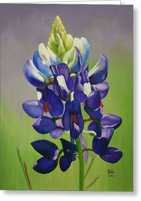 Greeting Card featuring the painting Portrait Of A Bluebonnet by Jimmie Bartlett