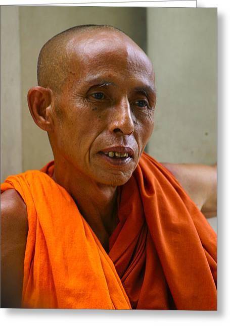 Portrait Of A Buddhist Monk Yangon Myanmar Greeting Card