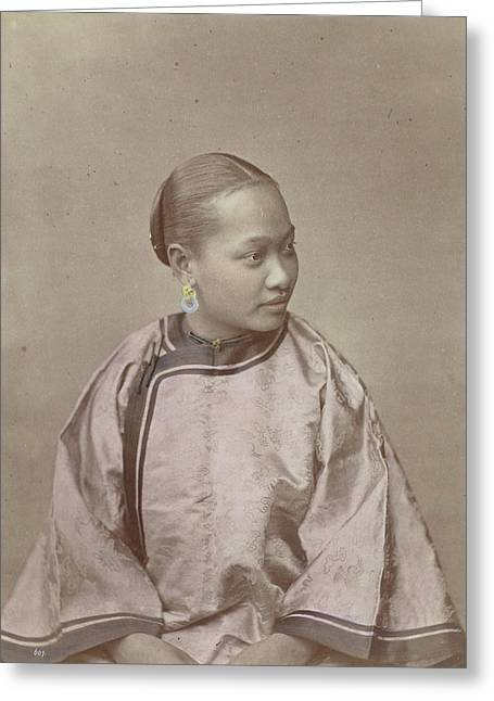 Portrait Of A Chinese Woman, Attributed To Baron Raimund Greeting Card by Artokoloro