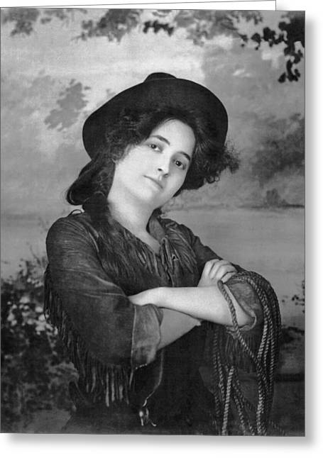 Portrait Of A Cowgirl Greeting Card