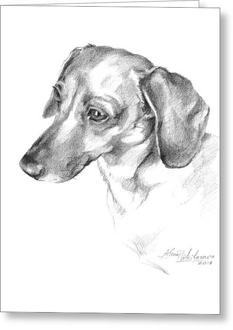Portrait Of A Dachshund Paying Attention Greeting Card