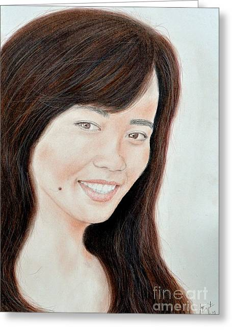 Portrait Of A Filipina Beauty Greeting Card by Jim Fitzpatrick
