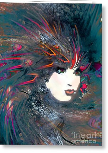 Portrait Of A Flamboyant Woman Greeting Card by Doris Wood