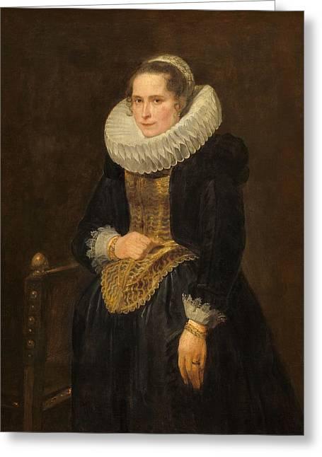 Portrait Of A Flemish Lady Greeting Card