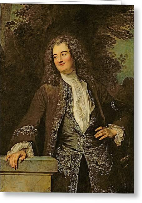 Portrait Of A Gentleman, Or Portrait Of Jean De Julienne Oil On Canvas Greeting Card