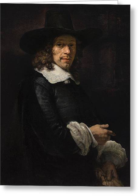 Portrait Of A Gentleman With A Tall Hat And Gloves Greeting Card