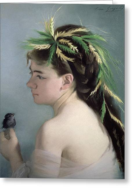 Portrait Of A Girl Holding A Sparrow Pastel Greeting Card