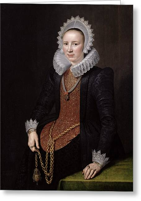Portrait Of A Lady Aged 29, 1615 Oil On Panel Greeting Card by Michiel Jansz. van Miereveld