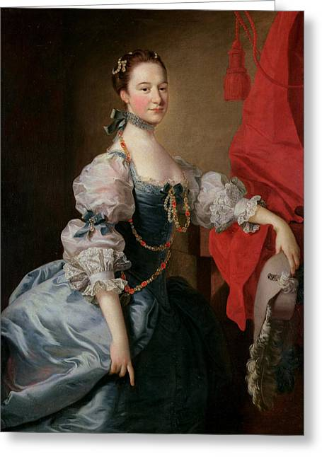Portrait Of A Lady In A Blue Gown Greeting Card by Thomas Hudson