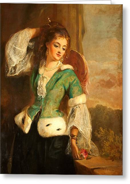 Portrait Of A Lady In A Green Jacket Greeting Card by Philip Richard Morris