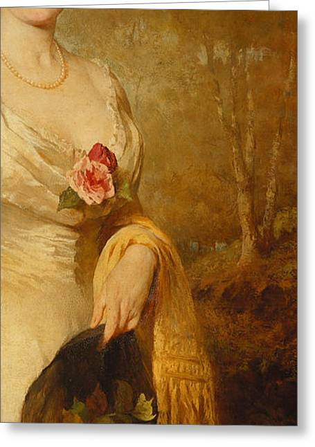 Portrait Of A Lady In A White Dress Greeting Card by George Elgar Hicks