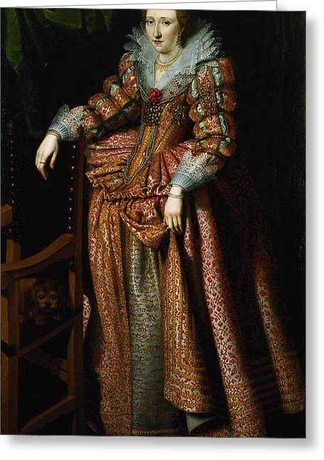 Portrait Of A Lady Said To Be From The Coudenhouve Family Of Flanders, C.1610-20 Oil On Canvas Pair Greeting Card