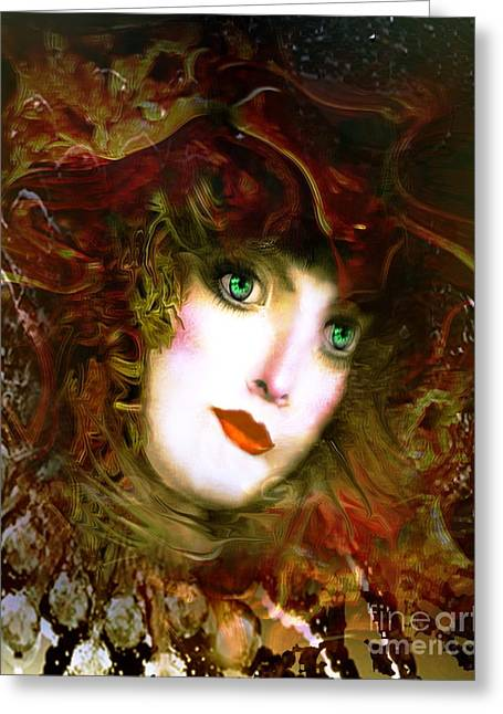 Portrait Of A Lady With A Red Hat Greeting Card by Doris Wood