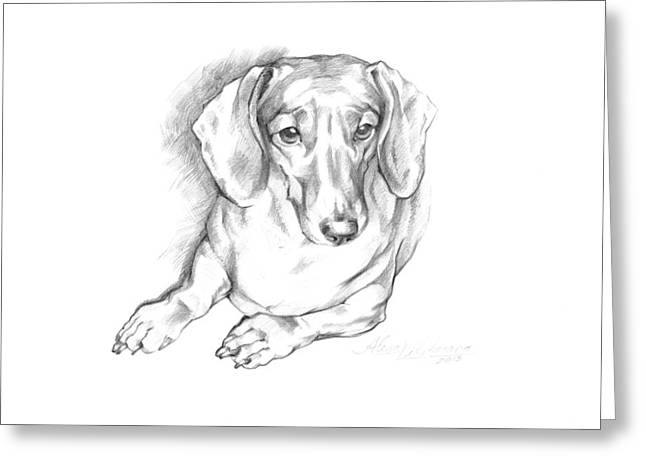Portrait Of A Laying Dachshund Greeting Card by Alena Nikifarava