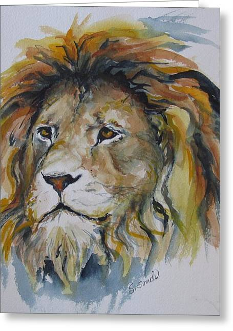 Portrait Of A Lion Greeting Card