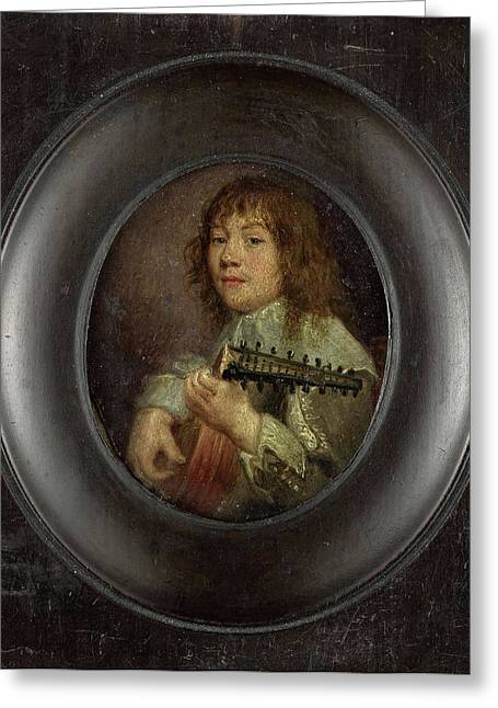 Portrait Of A Lute Player, Anonymous Greeting Card