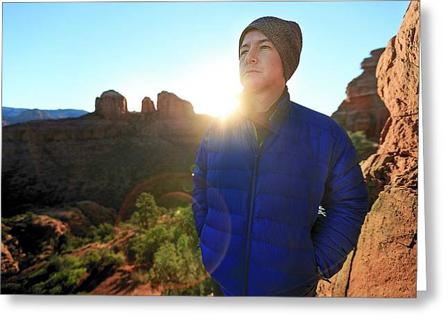 Portrait Of A Male Hiker In Sedona Greeting Card