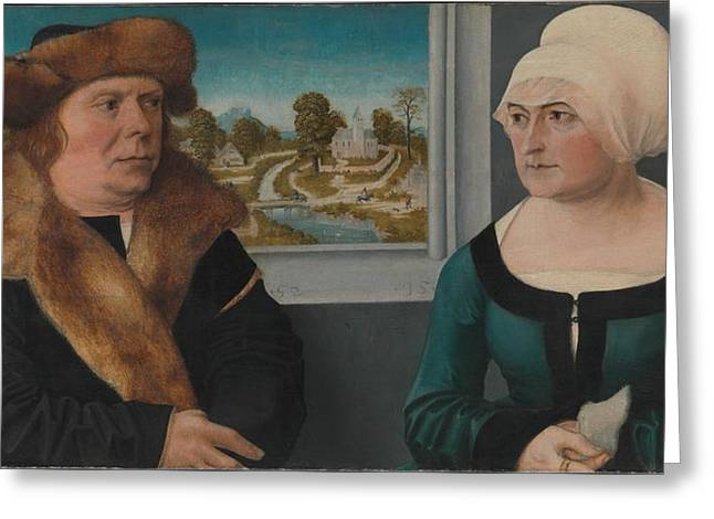 Portrait Of A Man And His Wife Lorenz Greeting Card by Ulrich Apt the Elder