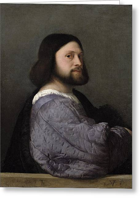 Portrait Of A Man, C.1512 Oil On Canvas Greeting Card